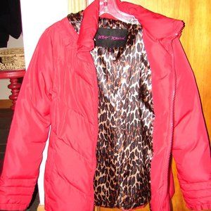 BETSEY JOHNSON Red and Animal Print Hooded Puffer